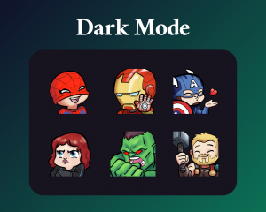 Avengers Emotes for twitch dark mode