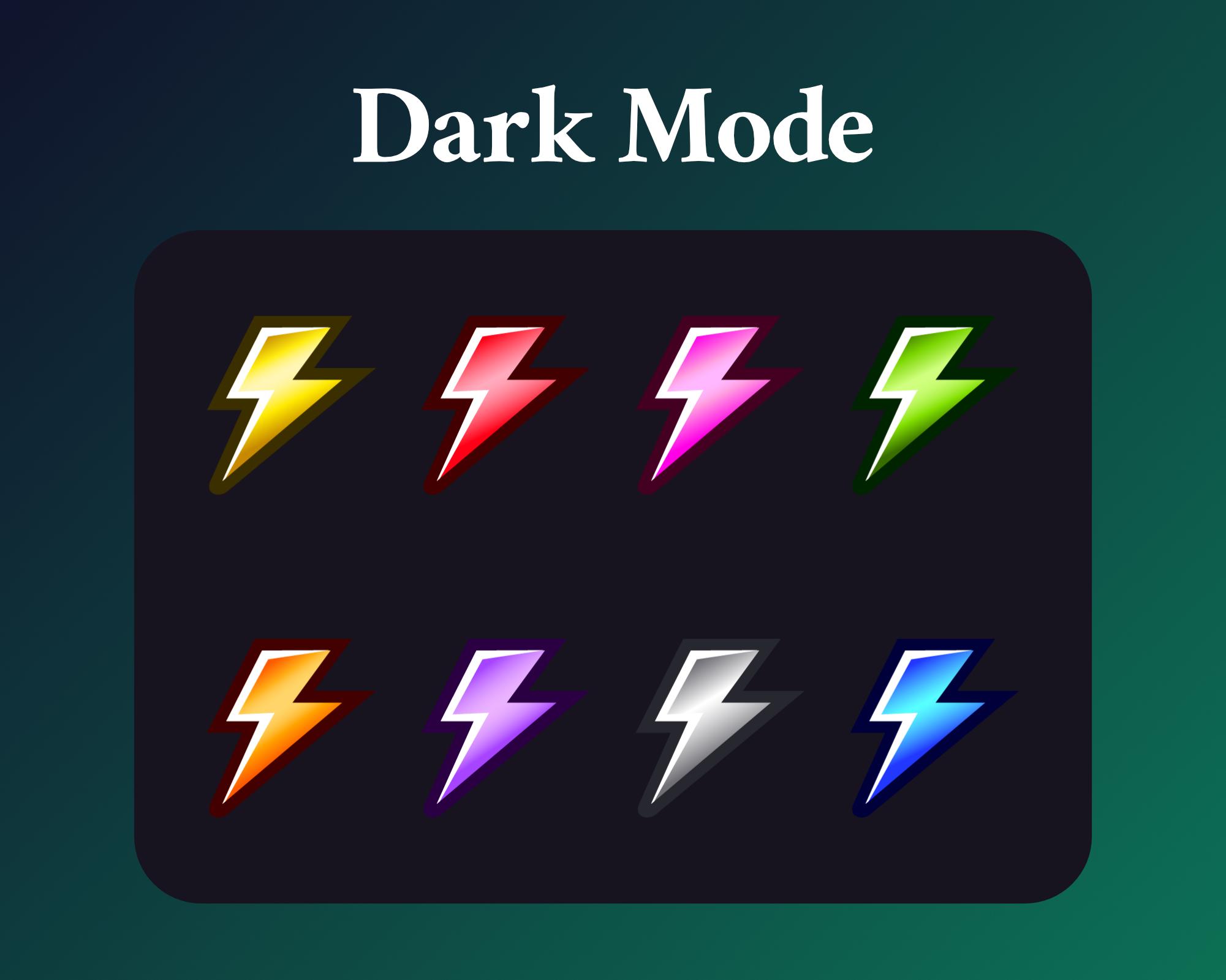 Lightning badges dark mode