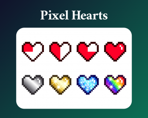 Pixel Heart sub badges for twitch