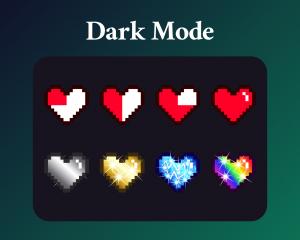 Pixel heart dark mode sub badges