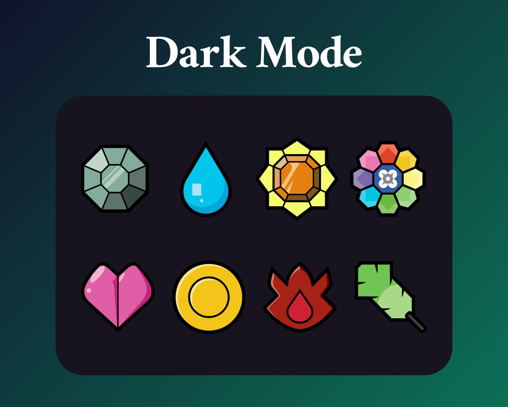 Pokemon Gym sub badges dark mode