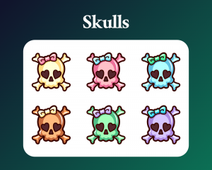 Skull subscriber badges for twitch in pastel colours