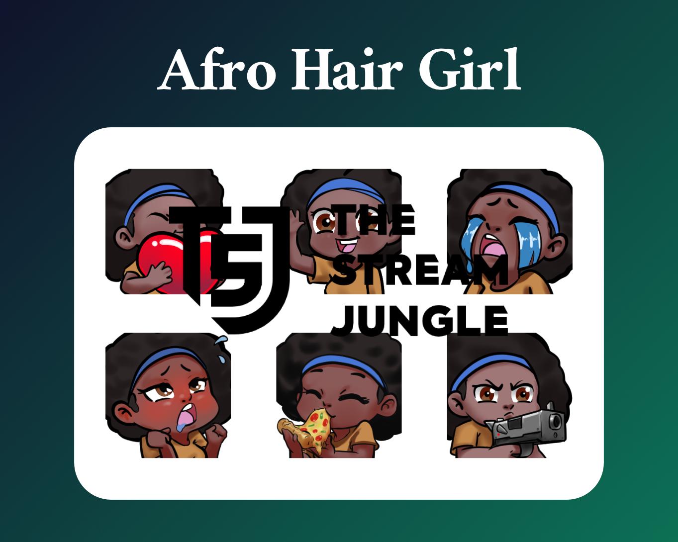 Black hair girl twitch sub emotes
