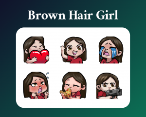 Brown hair girl sub emotes