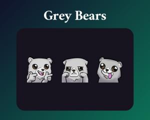 Grey bear emotes for twitch dark mode