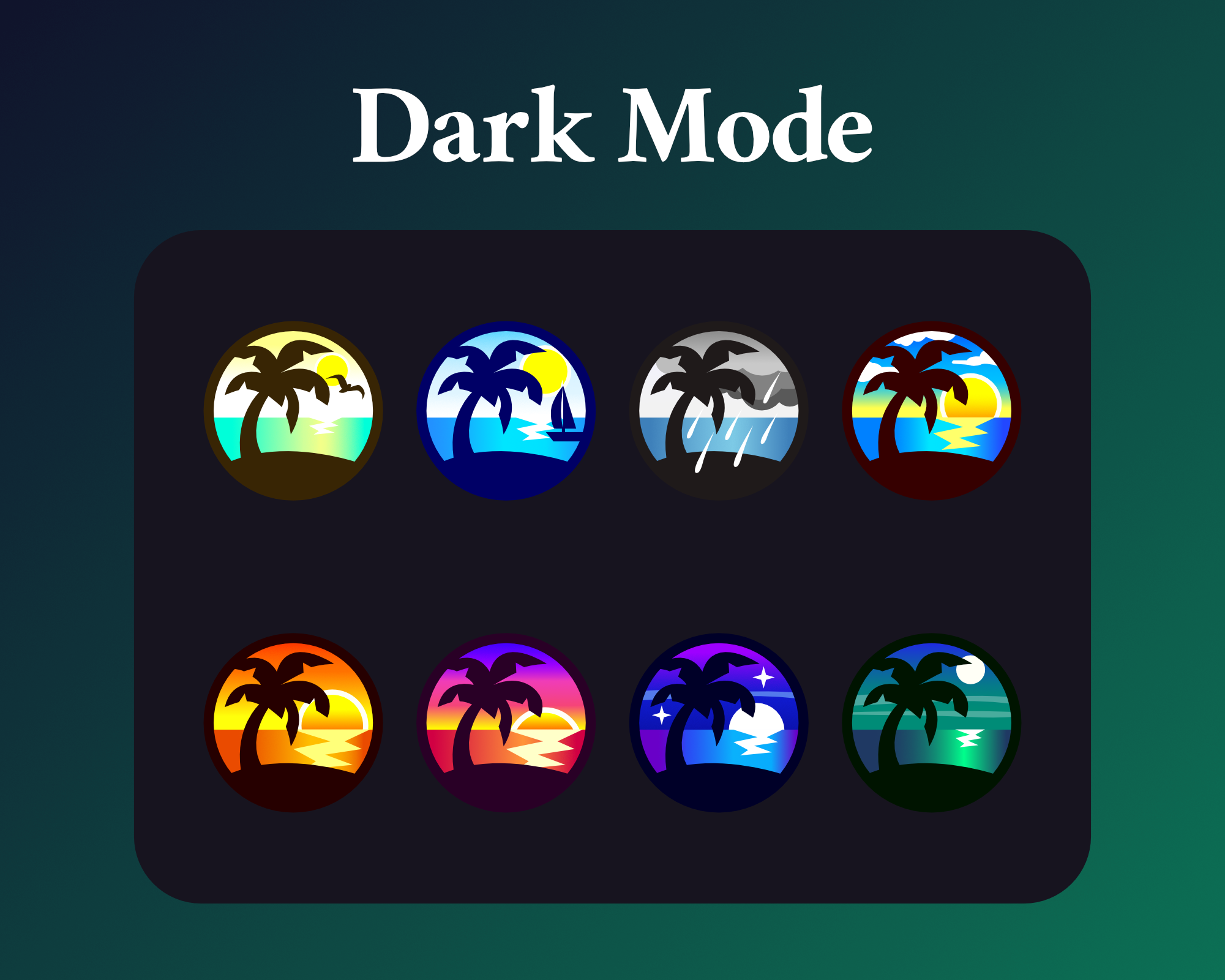 Palm tree subscriber badges for twitch chat in dark mode